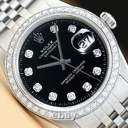 Mens Rolex Datejust 18k White Gold Diamond & Stainless Steel Watch Black Dial