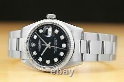 Mens Rolex Datejust Black Diamond Dial 18k White Gold Fluted Bezel & Steel Watch