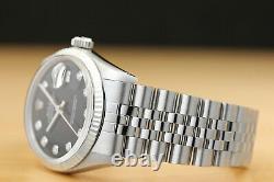 Mens Rolex Datejust Black Diamond Dial 18k White Gold Stainless Steel Watch