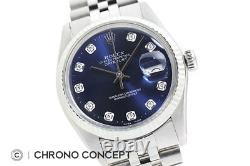 Mens Rolex Datejust Blue Diamond Dial 18K White Gold / Stainless Steel Watch