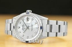 Mens Rolex Datejust Silver 18k White Gold Sapphire Diamond Stainless Steel Watch