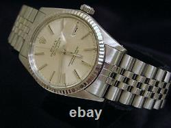 Mens Rolex Datejust Stainless Steel Watch 18K White Gold Bezel Silver Dial 16014