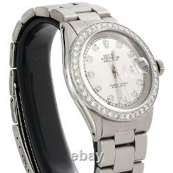 Mens Rolex Diamond Watch DateJust 36mm Stainless Steel Oyster Silver Dial 2 CT