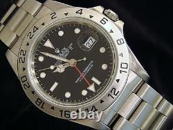 Mens Rolex Stainless Steel Explorer II Date Watch 40mm Black Dial Model 16570