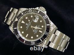 Mens Rolex Submariner Date Stainless Steel Watch Black Dial & Bezel Sub 16610