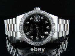 Mens Stainless Steel Rolex Datejust Presidential 36 MM Black Dial Watch 2.5 Ct