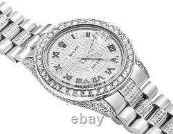 Mens Stainless Steel Rolex Datejust Presidential 36 MM Dial Diamond Watch 10 Ct