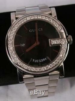 Mint Men's Gucci YA101305 black dial 1.25ct. Aprx. Custom set real Diamond Watch