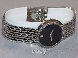 NEW Men's Movado Certa st. Steel 0.80ct. Apx. Custom set real diamond Watch 0605613