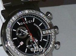 New Men's 101m Gucci chrono 1.92ct. Aprx. Custom set real Diamond Watch YA101309