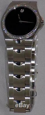 New Men's Movado Black Luno 0605556 0.93 ct. Aprx. Custom set real Diamond Watch