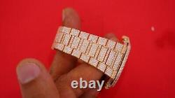 PATEK PHILIPPE Nautilus Rose Gold Watch Honey Comb Setting Iced Out Diamonds