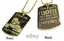 Personalized custom necklace, dog tag pendant with image, picture or text