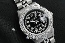 Rolex 26mm Datejust Glossy Black String Diamond Accent Dial Women's SS Watch