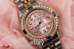 Rolex 26mm Datejust Metallic Pink String Vintage Dial with Sapphire & Diamond