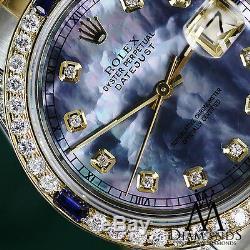 Rolex 26mm Datejust Watch Tahitian MOP Dial with Sapphire & Diamond Bezel