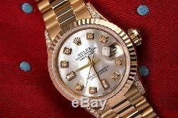 Rolex 26mm Presidential White MOP 8+2 Diamond Dial 18k Yellow Gold Ladies Watch