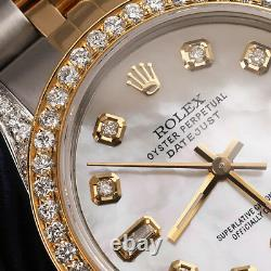Rolex 31mm Datejust Diamond Watch White Mother Of Pearl 8+2 Diamond Dial