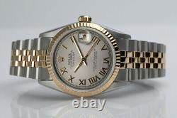 Rolex 31mm Datejust Silver Roman Numeral Dial Fluted Bezel Two Tone Watch