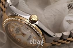 Rolex 31mm Datejust White MOP Mother of Pearl String Diamond Dial & Bezel 2 Tone