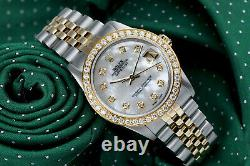 Rolex 31mm Datejust White Mother of Pearl with Diamonds 18K Gold & SS