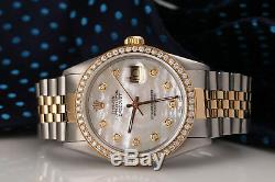 Rolex 36mm Datejust White Mother Of Pearl Diamond Dial & Bezel 2 Tone Watch