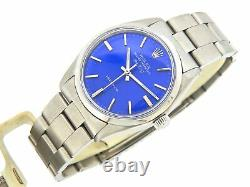 Rolex Air King Precision 5500 Mens Stainless Steel Watch Oyster Band Blue Dial