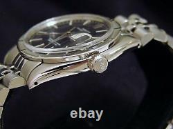 Rolex Date Mens Stainless Steel Watch Engine-Turned Index Bezel Slate Gray Dial