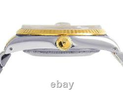 Rolex Datejust 36MM Two Tone 18K Gold/ Steel Fluted Bezel MOP Dial Diamond Watch
