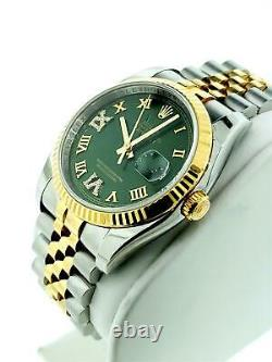 Rolex Datejust 36mm Ref 116233 Jubilee 18k Yellow Gold Steel Custom Diamond dial