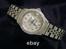 Rolex Datejust Lady Stainless Steel Watch Jubilee Band Silver Diamond Dial Bezel