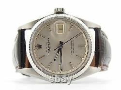 Rolex Datejust Men Stainless Steel 18K White Gold Watch Brown Silver Dial 1601