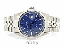 Rolex Datejust Men Stainless Steel Watch with Folded Link Jubilee Band Blue Dial