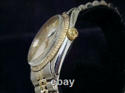 Rolex Datejust Mens 2Tone Gold Stainless Steel Watch Jubilee with Silver Dial 1601