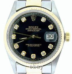 Rolex Datejust Mens 2Tone Gold & Stainless Steel with Black Diamond Dial 1601
