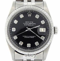 Rolex Datejust Mens SS Stainless Steel Jubilee Black Diamond Dial Watch 1603