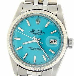 Rolex Datejust Mens Stainless Steel & 18K White Gold Turquoise Blue Dial Watch