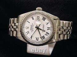 Rolex Datejust Mens Stainless Steel Jubilee Watch White & Black Roman Dial 1603