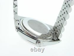 Rolex Datejust Mens Stainless Steel SS Watch Jubilee with Silver Diamond Dial 1601
