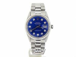Rolex Datejust Mens Stainless Steel Watch Engine-Turned Bezel Blue Diamond Dial