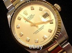 Rolex Datejust Mens Two-Tone Yellow Gold & Stainless Steel Champagne Diamond