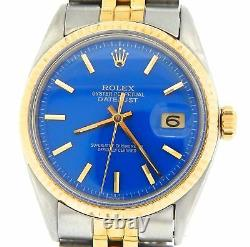 Rolex Datejust Mens Yellow Gold & Steel Watch Jubilee Style Band Blue Dial 1601