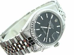 Rolex Datejust Stainless Steel Watch Jubilee Engine-Turned Bezel Black Dial 1603