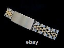 Rolex Datejust Yellow Gold & Steel Watch Diamond Dial White Gold 1ct Bezel