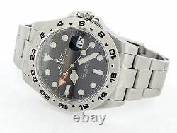 Rolex Explorer II Mens Stainless Steel Watch 42mm Orange Hand Black Dial 216570