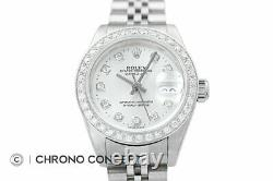 Rolex Ladies Datejust 18K White Gold & Stainless Steel Silver Diamond Dial Watch