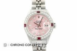Rolex Ladies Datejust Pink Diamond Dial 18K White Gold & Stainless Steel Watch