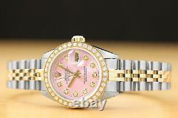 Rolex Ladies Datejust Pink Diamond Dial & Bezel 18k Yellow Gold / Steel Watch