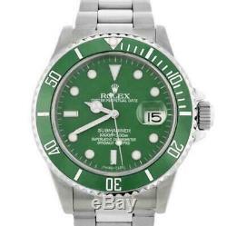 Rolex Men's Submariner 16610 40mm Watch Stainless Steel Custom Green Dial/Insert