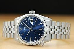 Rolex Mens Blue Dial Datejust 18k White Gold & Stainless Steel Authentic Watch